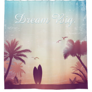 dream big beach and palm trees with surfboards shower curtain