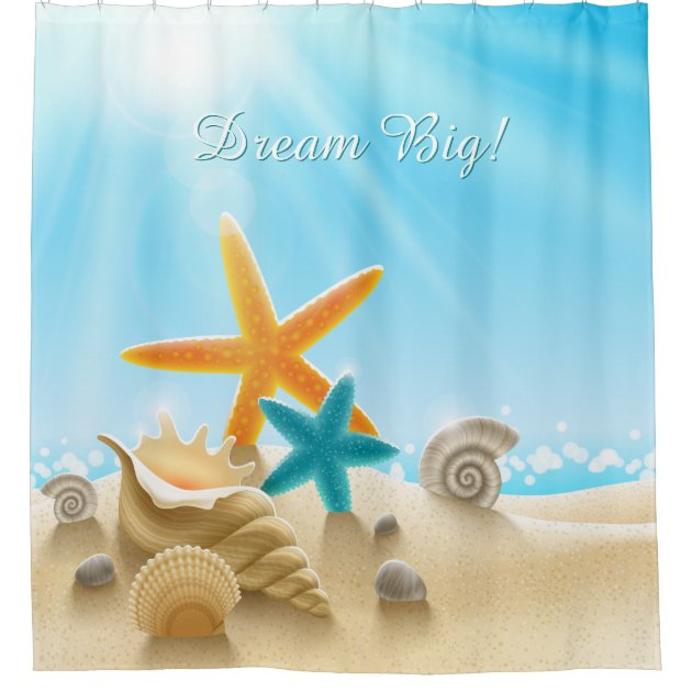 dream big beach scene with starfish u0026 seashells shower curtain zazzlecom