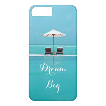 Beach Themed Dream Big Beautiful Blue Sky and Beach Pattern iPhone 8 Plus/7 Plus Case