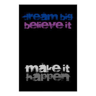 Dream Big Believe It Make It Happen Inspirational Poster