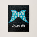 """Dream Big"" Blue Butterfly on Black Puzzle"