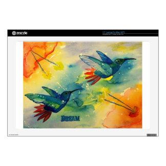"""Dream Big! Hummingbird Watercolor Painting 17"""" Laptop Skin"""
