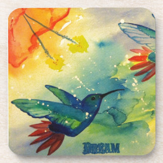Dream Big! Hummingbird Watercolor Painting Coaster