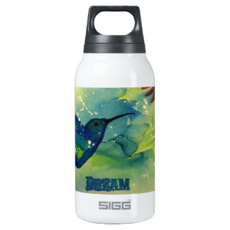 Dream Big! Hummingbird Watercolor Painting Insulated Water Bottle