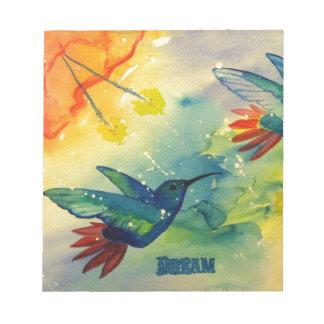 Dream Big! Hummingbird Watercolor Painting Notepad