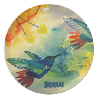 Dream Big! Hummingbird Watercolor Painting Plate