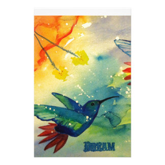 Dream Big! Hummingbird Watercolor Painting Custom Stationery
