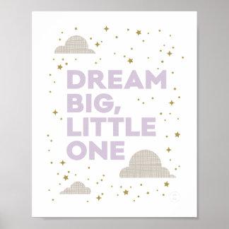 Dream Big, Little One Art Print in Lavender Purple
