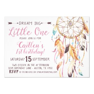 Dream Big Little One First Birthday Dreamcatcher Invitation