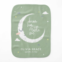 Dream big little one moon   clouds personalized baby burp cloth