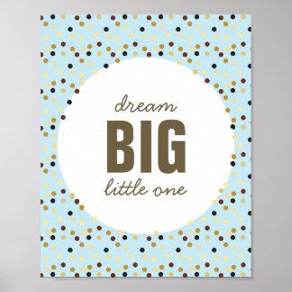 Dream Big Little One Nursery Wall Art Blue Brown