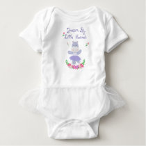 Dream Big Little one, Purple Hippo Ballerina Baby Bodysuit