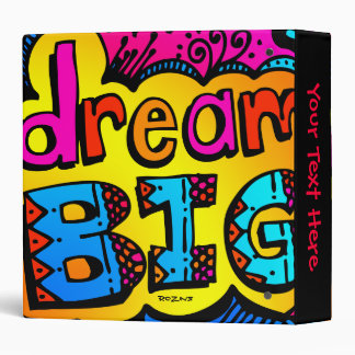 Dream Big Neon Graffiti Comic Book Illustration Binder