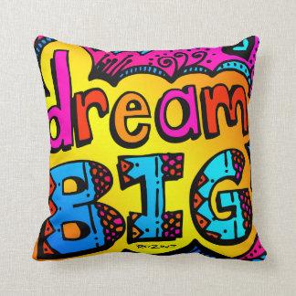 Dream Big Neon Graffiti Comic Book Illustration Pillow