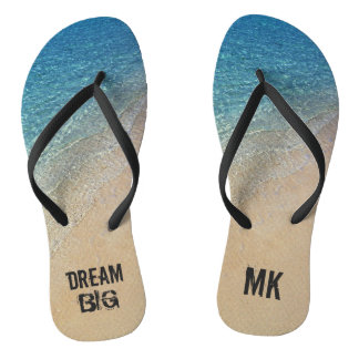 Dream Big Ocean Beach with Custom Monogram Name Flip Flops