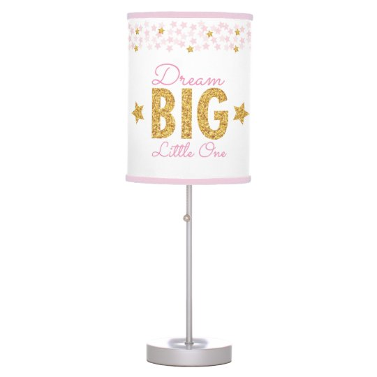 Dream Big Pink & Gold Glitter Star Nursery Lamp