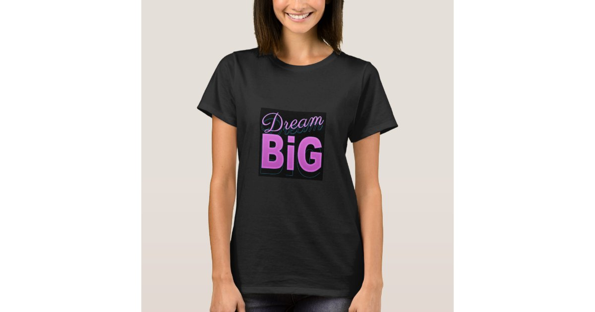 0488fb5bd Dream big retro style pink black neon 80s t shirts   Zazzle.com