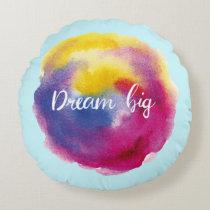 Dream big round pillow