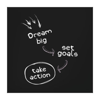 Dream big set goal take action motivational quote canvas print