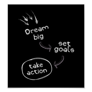 Dream big set goal take action motivational quote poster