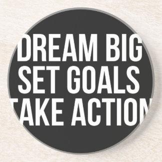 Dream Big Set Goal Take Action Motivational Quote Sandstone Coaster
