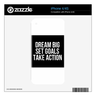 Dream Big Set Goals Take Action Motivational Quote Decal For The iPhone 4S