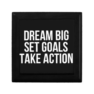 Dream Big Set Goals Take Action Motivational Quote Gift Box
