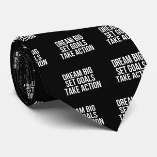 Dream Big Set Goals Take Action Motivational Quote Neck Tie