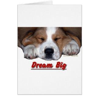 Dream Big Sleeping St. Bernard Mix Greeting Card