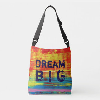 Dream Big - Sunny Yellow Red Abstract Art Crossbody Bag