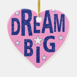 Dream big vintage heart ceramic ornament