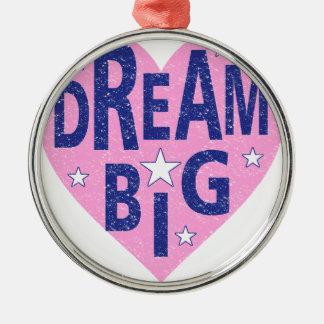 Dream big vintage heart metal ornament