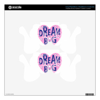 Dream big vintage heart PS3 controller decals