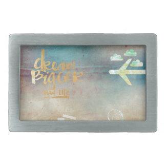 Dream big,vintage paper colorful,travel collage belt buckle