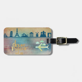 Dream big,vintage paper colorful,travel collage tags for luggage