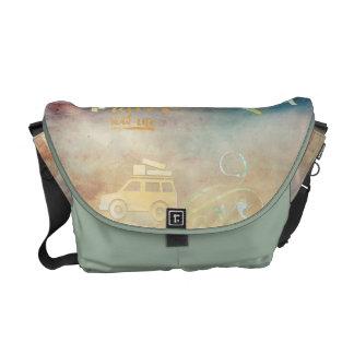 Dream big,vintage paper colorful,travel collage courier bag