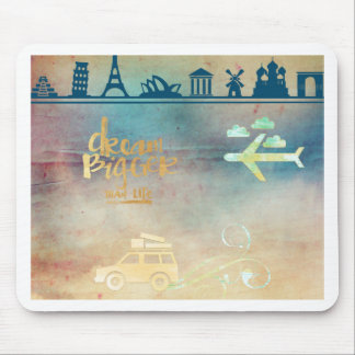 Dream big,vintage paper colorful,travel collage mouse pad