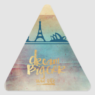 Dream big,vintage paper colorful,travel collage triangle sticker