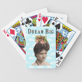 Dream Big Vintage Photo Collage Bicycle Playing Cards