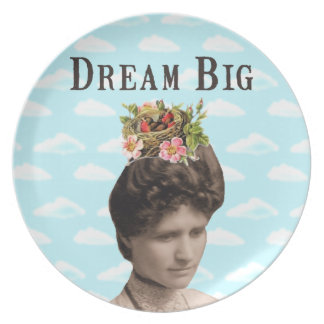 Dream Big Vintage Photo Collage Party Plate