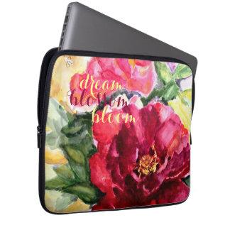 Dream Bloom Floral Watercolor Art Laptop Sleeve