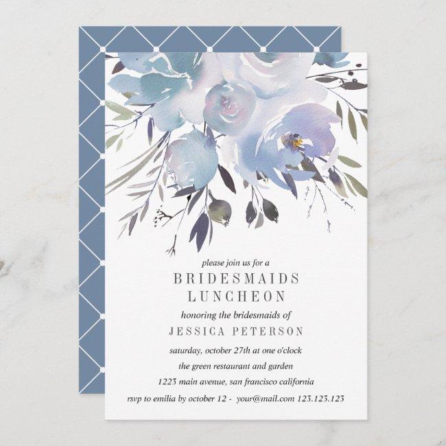 Dream Blue Flowers Bridesmaids Luncheon Wedding Invitation