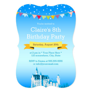 Dream Blue White Castle Girl's Birthday Party Card