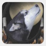 Dream catcher and blue eyed Husky Square Sticker