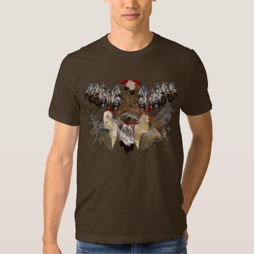 Dream Catcher and Feathers-Hawk Face Shirt (wide)