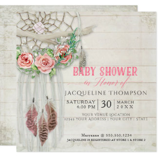 Dream Catcher Baby Shower Girl BOHO Wood Feather Card