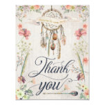 Dream Catcher Boho Floral Painted Thank You Cards
