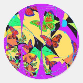 Dream Catcher Butterflies By Sharles Fine Ar Classic Round Sticker