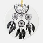 Dream Catcher Double-Sided Ceramic Round Christmas Ornament