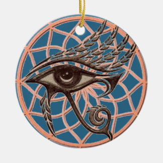 Dream Catcher Eye Of Horus Blue Ceramic Ornament